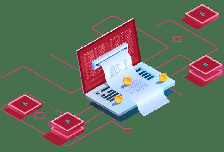 Laptop con facturación electrónica mensual