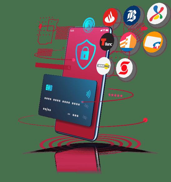 Celular con íconos de bancos y tarjeta de crédito